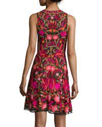 Naeem Khan - Black Sleeveless Embroidered Cocktail Dress - Lyst