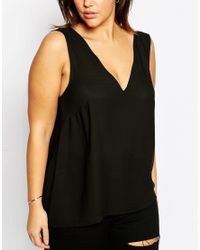 ASOS - Black Vest Top With V Back & Front - Lyst