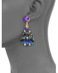 Erickson Beamon | Blue Talitha Crystal Clustered Teardrop Earrings | Lyst