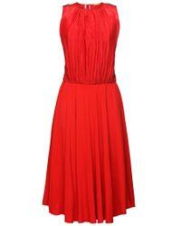BOSS Orange Red 'egioie'   Cotton Silk Pleated Midi Dress