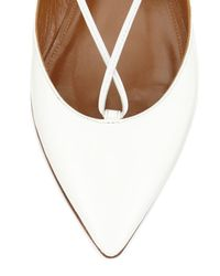 Aquazzura - White Christy Lace-Up Pointed-Toe Ballet Flats - Lyst