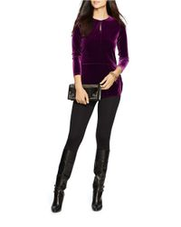 Lauren by Ralph Lauren | Purple Petite Keyhole Jersey Top | Lyst