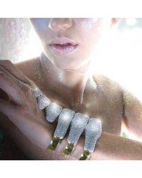 Noir Jewelry - Metallic Dinosaur Bones Pave Cuff Bracelet - Lyst