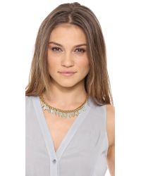 Juicy Couture - Metallic Feather Stone Necklace Gold - Lyst