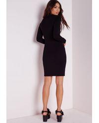 Missguided | Petite Long Sleeve Jersey Bodycon Dress Black | Lyst