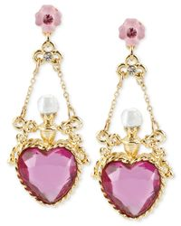 Betsey Johnson - Pink Antique Gold-Tone Crystal Heart Bottle Drop Earrings - Lyst
