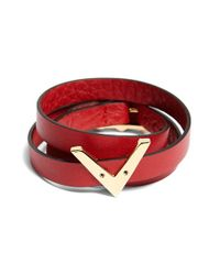 Valentino | Red 'my Rockstud V' Leather Wrap Bracelet | Lyst