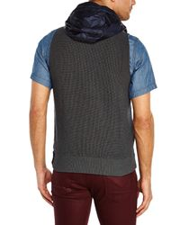 Stone Island | Gray Charcoal Hooded Knit Vest for Men | Lyst