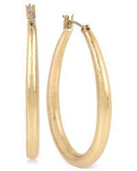 Kenneth Cole | Metallic Gold-tone Oval Hoop Earrings | Lyst