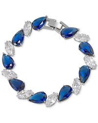Carolee | Silver-Tone Blue And Clear Crystal Bracelet | Lyst