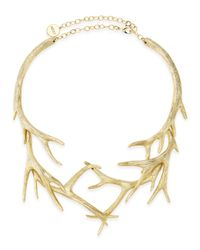 Nest | Metallic Gold Antler Collar Necklace | Lyst