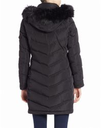 Calvin Klein - Black Petite Faux Fur-trimmed Down Puffer Coat - Lyst