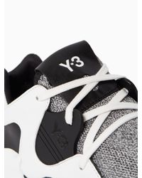 Y-3 | Black Qr Run Mesh Sneakers for Men | Lyst