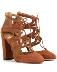 Aquazzura - Brown Holli 105 Suede Ankle Boots - Lyst