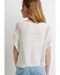 Forever 21 - Natural Loose-knit Tasseled Fringe Top - Lyst