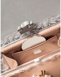 Dolce & Gabbana | Pink Vanda Calfskin Clutch With Brooches | Lyst