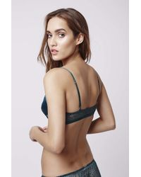TOPSHOP - Green Satin And Lace Triangle Bra - Lyst