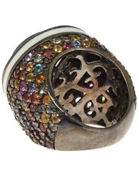 M.c.l - Brown Silver Multicoloured Sapphire Ring - Lyst