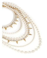 Joomi Lim - Metallic Faux Pearl Spike And Strass Tier Necklace - Lyst