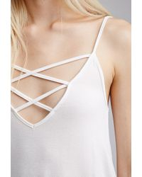Forever 21 - Natural Strappy V-neck Cami You've Been Added To The Waitlist - Lyst