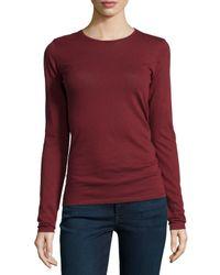 Neiman Marcus - Blue Cotton/cashmere Long-sleeve Crewneck Top - Lyst