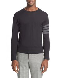 Thom Browne | Black Trim Fit Wool Crewneck Sweater for Men | Lyst