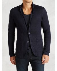 John Varvatos | Blue Patch Pocket Sweater Blazer for Men | Lyst