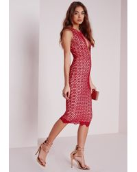 Missguided - Keyhole Lace Midi Dress Red - Lyst