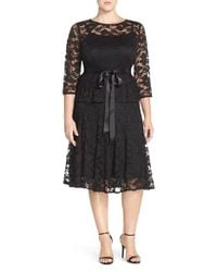 Chetta B | Black 'magic' Mock Two-piece Lace Dress | Lyst