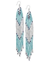 Lucky Brand | Blue Silver-tone Turquoise-colored Bead Drop Earrings | Lyst