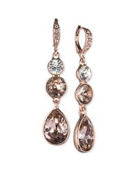 Givenchy | Rose Goldtone Pink Crystal Linear Drop Earrings | Lyst