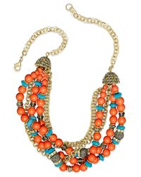 INC International Concepts - Black Gold-tone Turquoise And Coral Bead Torsade Necklace - Lyst