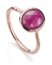 Monica Vinader - Pink Riva Precious Ruby Small Stacking Ring - Lyst