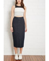 Forever 21 - Blue High-slit Denim Midi Skirt - Lyst