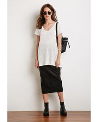 Forever 21 | White Textured Longline Tee | Lyst