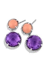 David Yurman - Purple Châtelaine Double Drop Earrings With Amethyst & Guava Quartz - Lyst