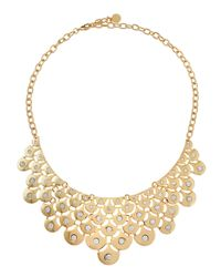 R.j. Graziano | Metallic Crystal Metal Mesh Bib Necklace | Lyst