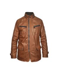 FORZIERI - Brown Leather Zippered Jacket for Men - Lyst