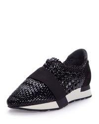 Balenciaga - Black Woven Leather Sneaker - Lyst