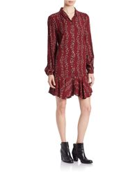 Free People | Red Button Front Shirtdress | Lyst