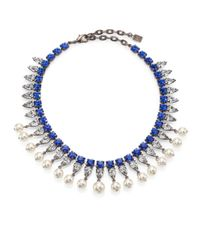 DANNIJO | Blue Alta Crystal & Faux Pearl Necklace | Lyst