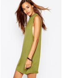 ASOS | Green T-shirt Dress With Drop Arm Hole | Lyst