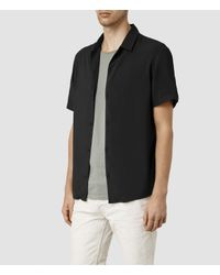 AllSaints | Black Poitiers Short Sleeved Shirt for Men | Lyst