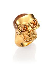 Alexander McQueen - Metallic Small Mask Skull Ring - Lyst