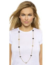 Tory Burch - Dipped Evie Chain Rosary Necklace - Black/Ivory/Shiny Gold - Lyst