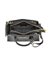 Michael Kors - Harper Black Glazed Ranch Leather Medium Satchel Bag - Lyst
