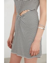 Silence + Noise - Black Knot Front Ribbed Mini Dress - Lyst