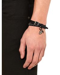 Alexander McQueen | Black Studded Wraparound Leather Bracelet for Men | Lyst