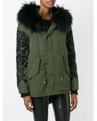 Amen - Green Rabbit Fur Trim Parka - Lyst