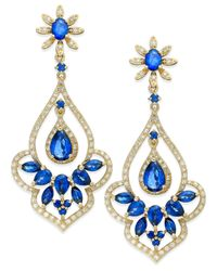 Effy Collection - Blue Velvet Bleu By Effy Manufactured Diffused Sapphire (4 Ct. T.w.) And Diamond (5/8 Ct. T.w.) Drop Earrings In 14k Gold - Lyst